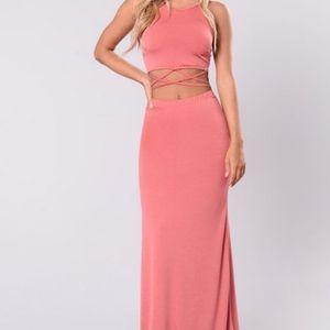 Coral Cut Out Maxi Dress NWOT size S
